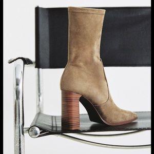Zara Beige/Grey Suede Ankle Boots